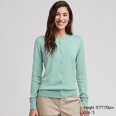 WOMEN UV CUT SUPIMA® COTTON CREW NECK CARDIGAN, GREEN, medium