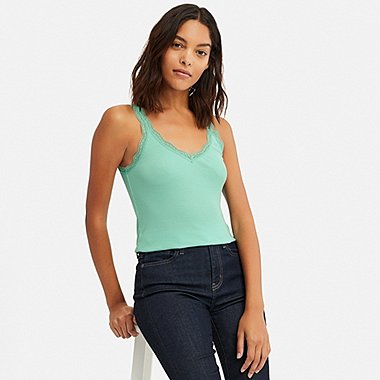 WOMEN 2-WAY RIBBED LACE TANK TOP (ONLINE EXCLUSIVE), GREEN, medium