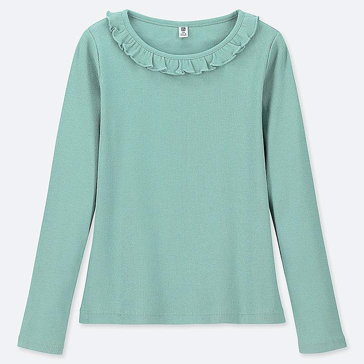 GIRLS RIBBED FRILL CREW NECK LONG-SLEEVE T-SHIRT, GREEN, large