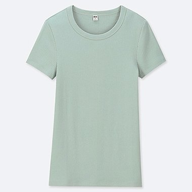 WOMEN RIBBED CREW NECK SHORT-SLEEVE T-SHIRT, GREEN, medium
