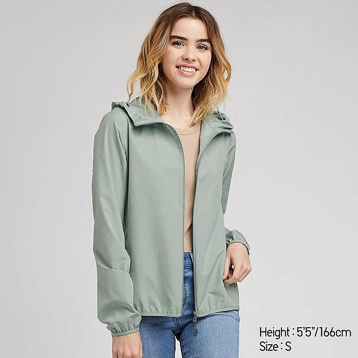 WOMEN POCKETABLE UV CUT PARKA, GREEN, large