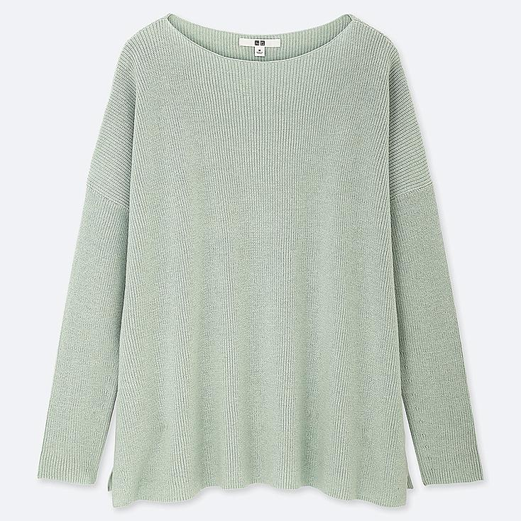 WOMEN COTTON CASHMERE BOXY BOAT NECK LONG SWEATER, GREEN, large
