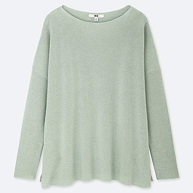 WOMEN COTTON CASHMERE BOXY BOAT NECK LONG SWEATER, GREEN, medium