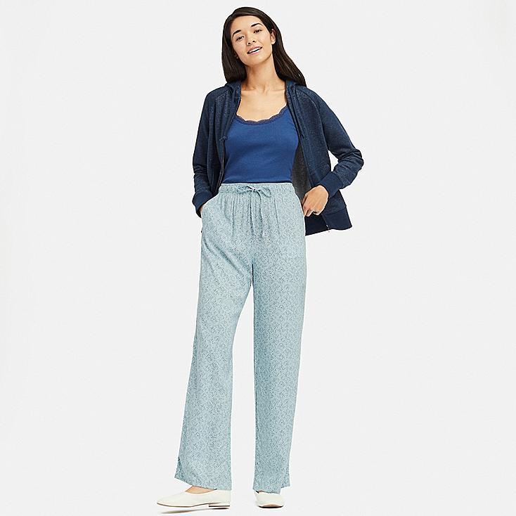 WOMEN DRAPE STRAIGHT PANTS, GREEN, large