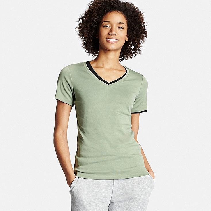 Women's Supima® Cotton V-Neck T-Shirt, GREEN, large