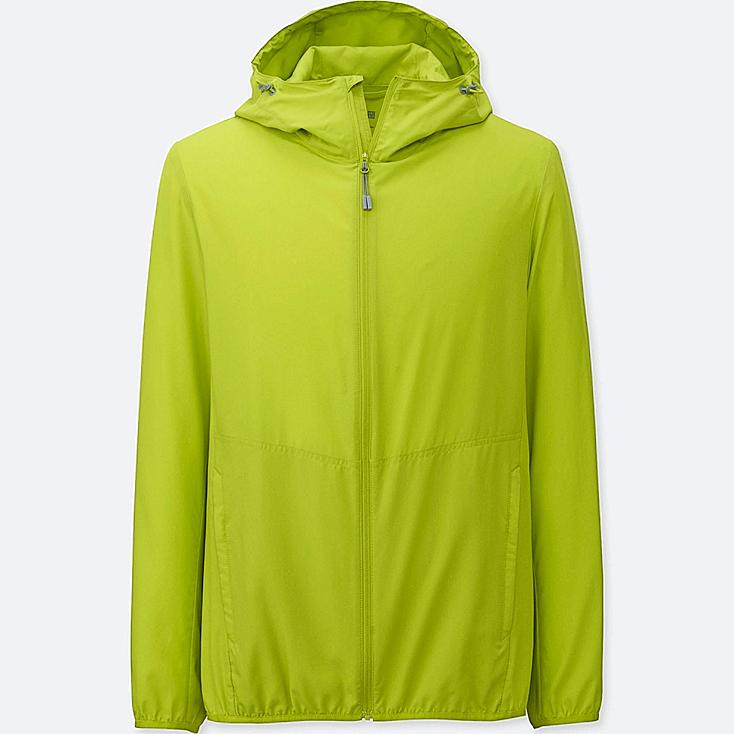 Men's Lightweight Packable Hooded Jacket, GREEN, large