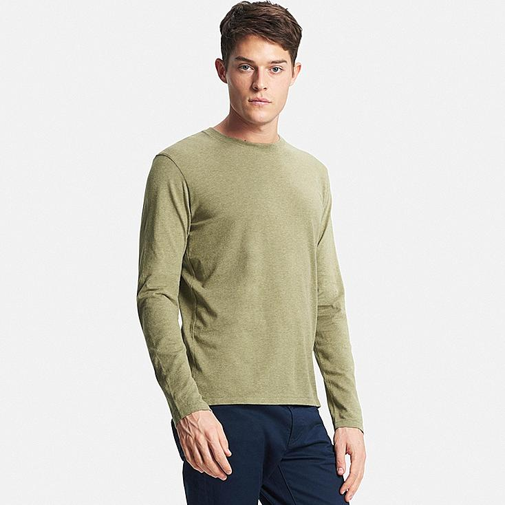 Men's Supima® Cotton Long Sleeve Crew Neck T-Shirt, GREEN, large