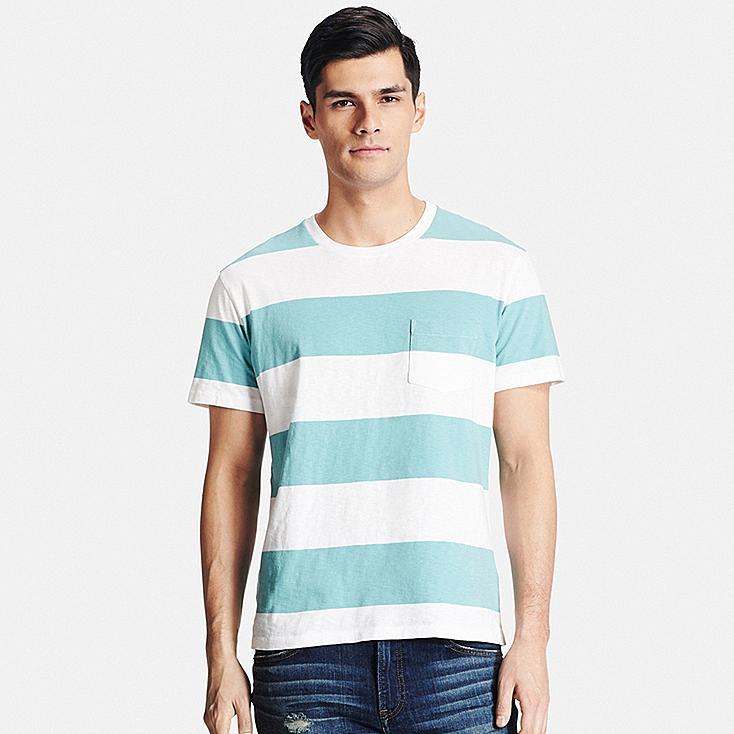 Men Washed Striped Crewneck Short Sleeve T-Shirt, GREEN, large