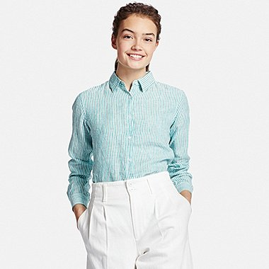 WOMEN Premium Linen Patterned Long Sleeve Shirt