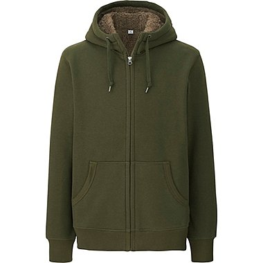 MEN PILE-LINED SWEAT LONG SLEEVE FULL-ZIP HOODIE, GREEN, medium