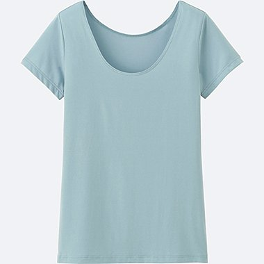 WOMEN AIRism SCOOP NECK SHORT-SLEEVE T-SHIRT, GREEN, medium