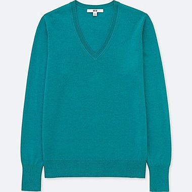 Women Extra Fine Merino V Neck Sweater, GREEN, medium