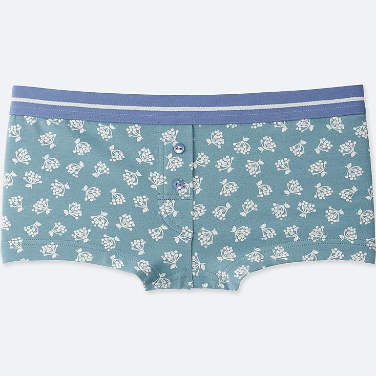 WOMEN BOY SHORTS (FLOWER), GREEN, large