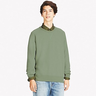 MEN LONG SLEEVE SWEATSHIRT, GREEN, medium