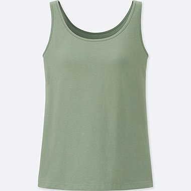WOMEN SUPIMA® COTTON BRA SLEEVELESS TOP, GREEN, medium