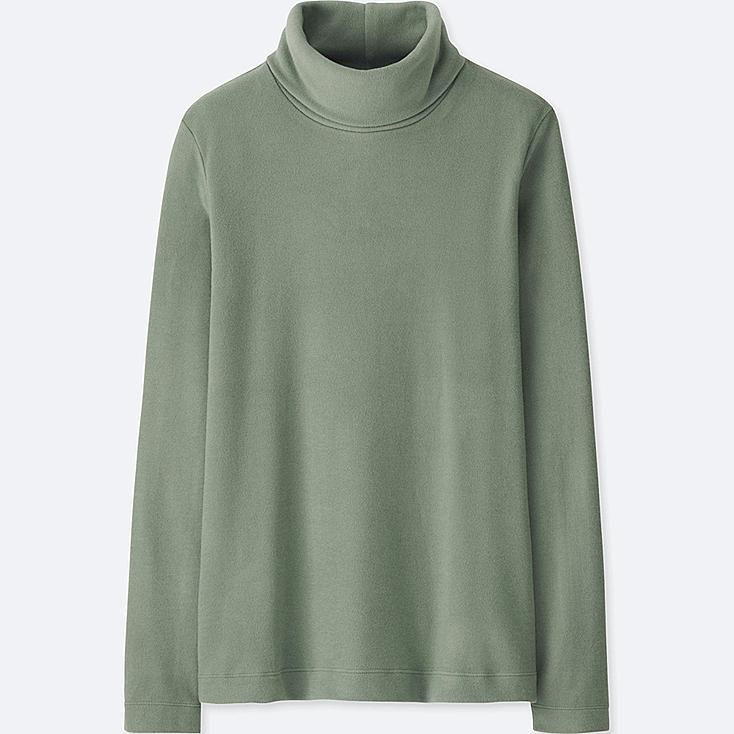 WOMEN HEATTECH FLEECE TURTLENECK LONG-SLEEVE T-SHIRT, GREEN, large