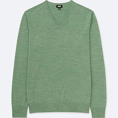 MEN EXTRA FINE MERINO V-NECK LONG-SLEEVE SWEATER, GREEN, medium