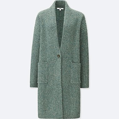 WOMEN WOOL RIBBED KNITTED COAT, GREEN, medium