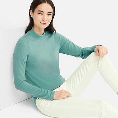 WOMEN HEATTECH STRETCH FLEECE MOCK NECK LONG-SLEEVE T-SHIRT, GREEN, medium