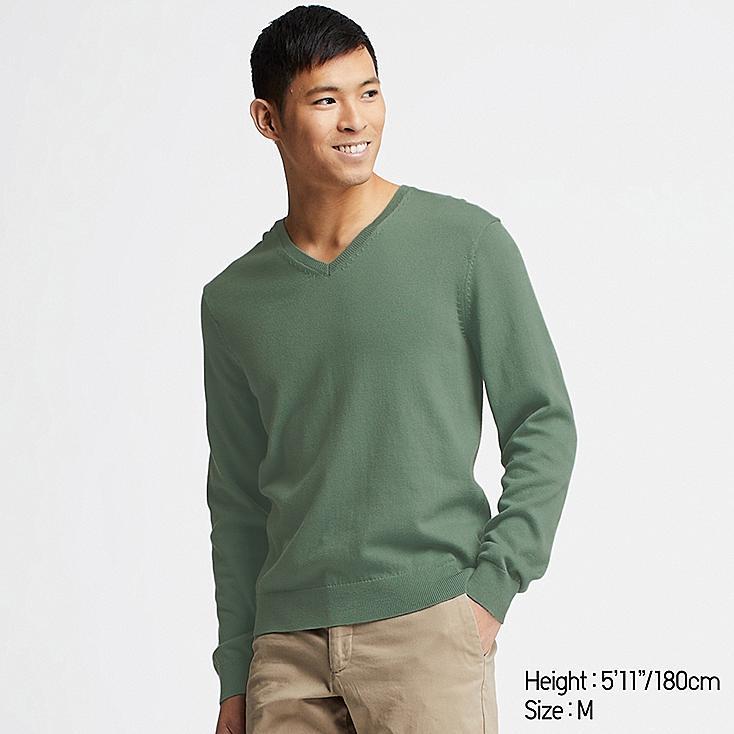 MEN SUPIMA® COTTON V-NECK LONG-SLEEVE SWEATER, GREEN, large