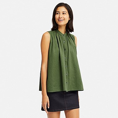 WOMEN LINEN BLEND SLEEVELESS BLOUSE (ONLINE EXCLUSIVE), GREEN, medium