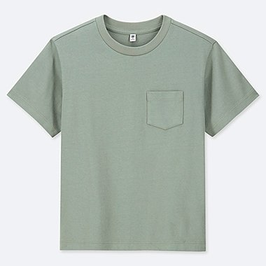 KIDS WASHED CREW NECK SHORT-SLEEVE T-SHIRT, GREEN, medium