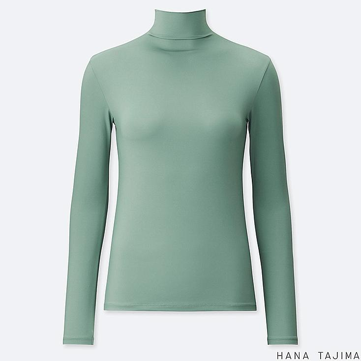 WOMEN AIRism UV CUT HIGH-NECK LONG-SLEEVE T-SHIRT (HANA TAJIMA), GREEN, large