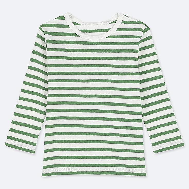 TODDLER CREW NECK LONG-SLEEVE T-SHIRT, GREEN, large
