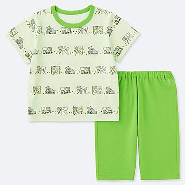 TODDLER The Picture Book SHORT-SLEEVE DRY PAJAMAS, GREEN, medium