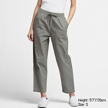 WOMEN COTTON RELAX ANKLE PANTS, GREEN, medium