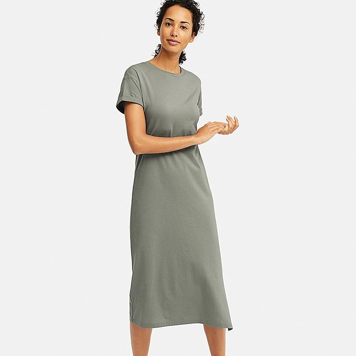 WOMEN SHORT-SLEEVE RELAX DRESS (WITH PADDING), GREEN, large