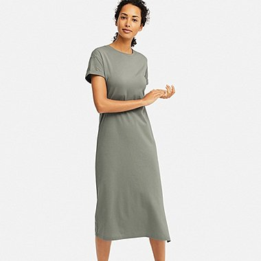 WOMEN SHORT-SLEEVE RELAX DRESS (WITH PADDING), GREEN, medium