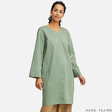 WOMEN V-NECK LONG-SLEEVE TUNIC (HANA TAJIMA), GREEN, medium