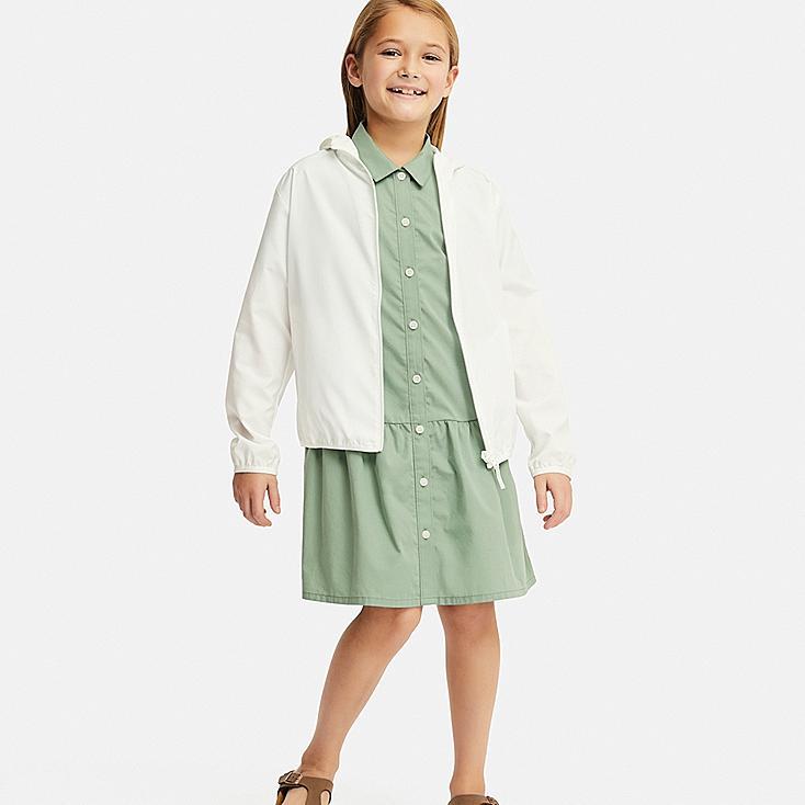 GIRLS SHIRT SHORT-SLEEVE DRESS, GREEN, large