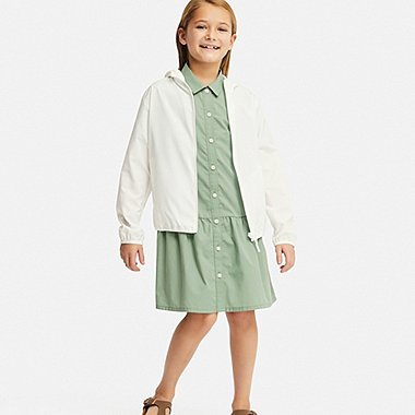 GIRLS SHIRT SHORT-SLEEVE DRESS, GREEN, medium