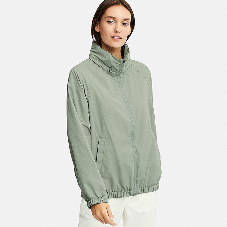WOMEN STAND COLLAR BLOUSON, GREEN, large