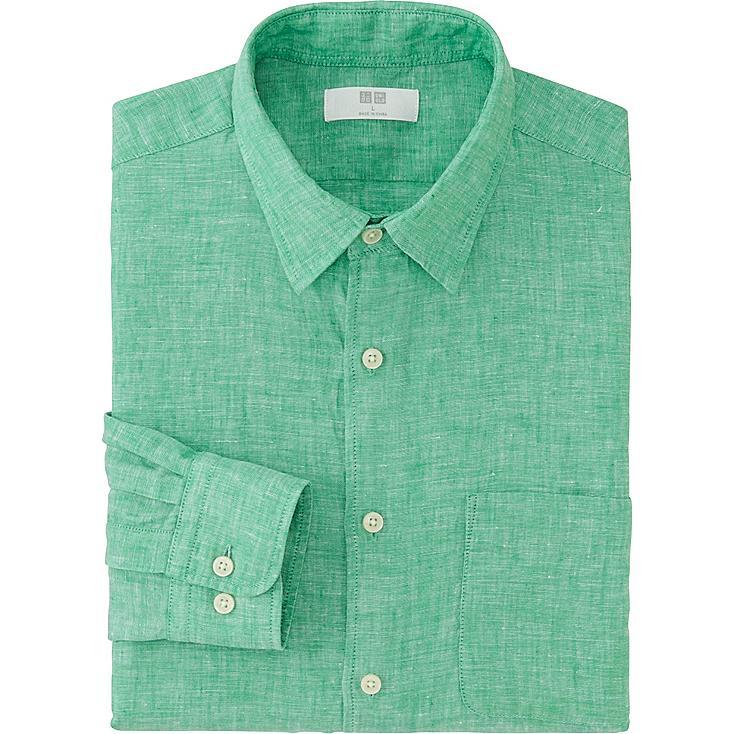 Men 39 S Premium Linen Long Sleeve Shirt Uniqlo Us