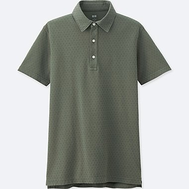 MENS WASHED PIQUE POLO SHIRT, GREEN, medium