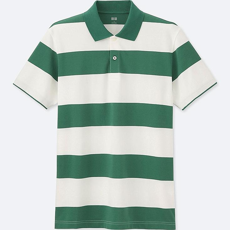 Men DRY PIQUE WIDE STRIPE POLO SHIRT, GREEN, large