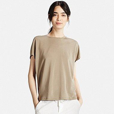Womens Draped T-Shirt, GREEN, medium
