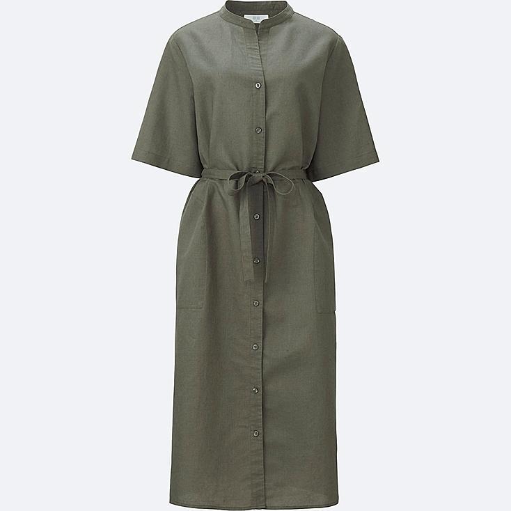 WOMEN LINEN COTTON SHORT SLEEVE SHIRT DRESS, GREEN, large