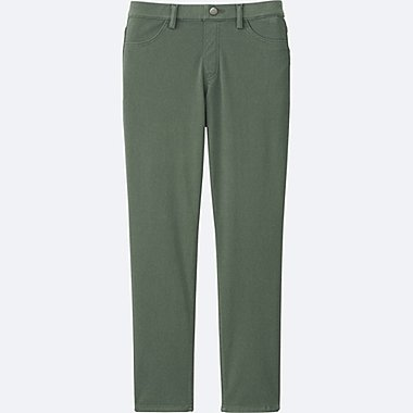 WOMEN CROPPED LEGGINGS PANTS, GREEN, medium