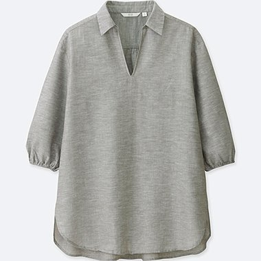 WOMEN COTTON LINEN 3/4 SLEEVE TUNIC, GREEN, medium
