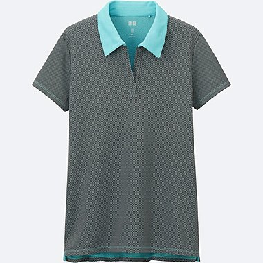 WOMEN DRY-EX PRINTED POLO SHIRT, GREEN, medium