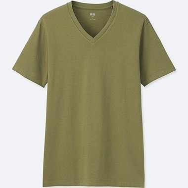 MEN Supima® COTTON V-NECK SHORT-SLEEVE T-SHIRT, GREEN, medium