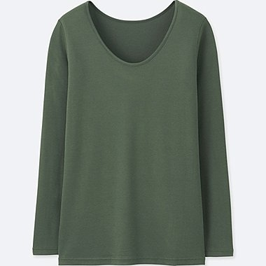 WOMEN HEATTECH RIBBED SCOOP NECK LONG-SLEEVE T-SHIRT, GREEN, medium
