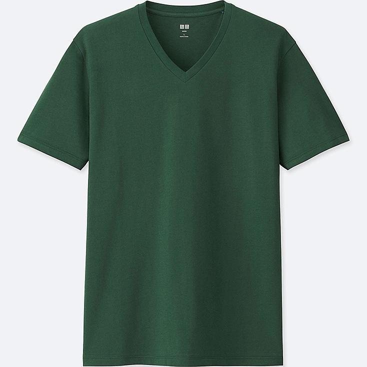 MEN SUPIMA® COTTON V-NECK SHORT-SLEEVE T-SHIRT, GREEN, large