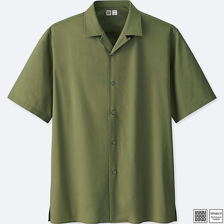 MEN UNIQLO U Open Collar Short Sleeve Shirt
