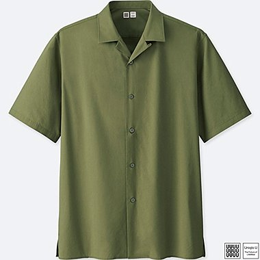 MEN U OPEN COLLAR SHORT-SLEEVE SHIRT, GREEN, medium