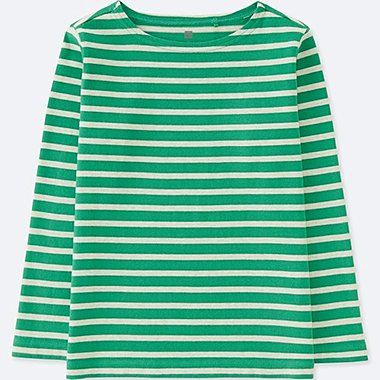 KIDS STRIPED BOAT NECK LONG-SLEEVE T-SHIRT, GREEN, medium